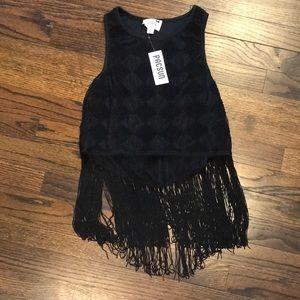 Black fringed top